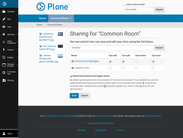Plone excels in managing content and related permissions in hierarchies